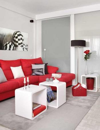 San ferm n rojo y blanco para tu sal n doordresser doordresser blog - Mueble salon rojo ...