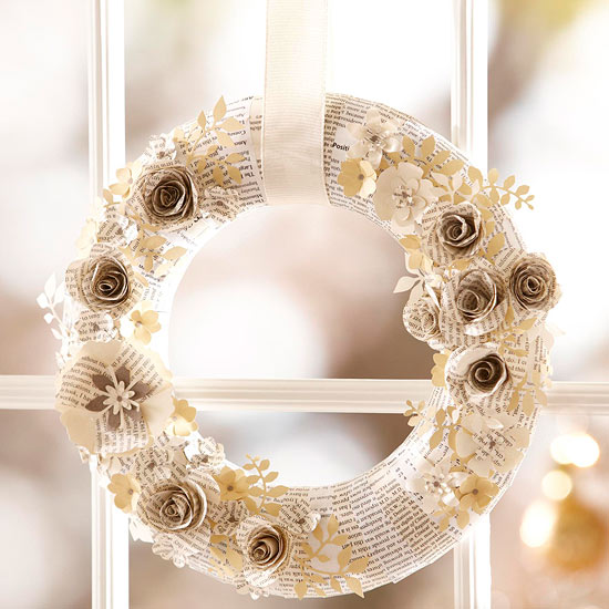 Corona Navidad DIY papel