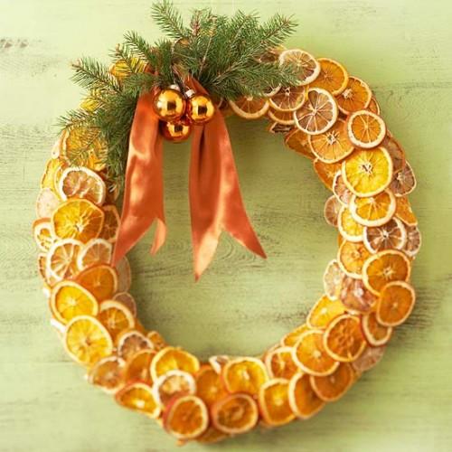 Corona Navidad DIY Fruta