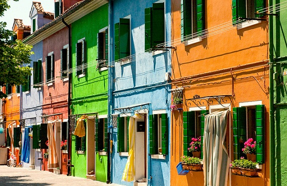 Fachadas de colores, Burano, Italia