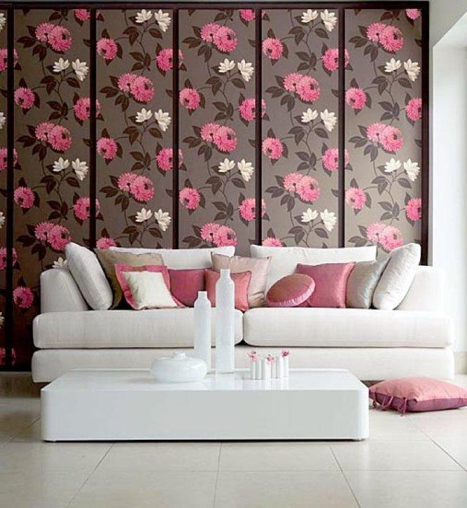 Papel pintado pared con flores. Decoración con flores